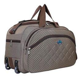 3N FASHION Waterproof Polyester Lightweight 40 L Luggage Travel Duffel Bag with 2 Wheels (Brown)-NC_3NB-178