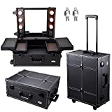AW Black Rolling Studio Makeup Artist PVC Cosmetic 15x8x19' Case w/Light Mirror Portable Train Table