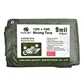 Hanjet Multi Purpose Tarp 12' x 16' 9-mil Thick Waterproof Camping Tents Tarps Poly Tarpaulin Green