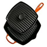 "Le Creuset Cast Iron Panini Press and Signature Square Skillet Grill Set, 10 1/4"", Flame"