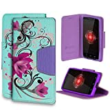 Beyond CellInfolio For Motorola Droid Mini XT1030 (Verizon,International)Premium Protection [Wallet Case] With Magnetic Flap Design Slim Luxury PU leather Flip Cover Built in Media Stand Cash Slot and Card Slots - Lotus Design - Retail Packaging
