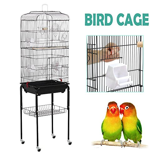 Yaheetech 59.3'' Rolling Standing Medium Bird Cage for Cockatiel Quaker Parrot Sun Parakeet Green Cheek Conure Finch Budgie Lovebird Parrotlet Canary Pet Bird Cage with Stand, Black