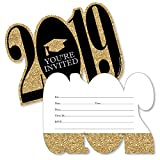 Gold - Tassel Worth The Hassle - 2019 Shaped Fill-In Invitations - Graduation Party Invitation Cards with Envelopes - Set of 12