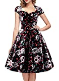 oten Women's Polka Dot Sugar Skull Vintage Swing Retro Rockabilly Cocktail Party Dress Cap Sleeve Black