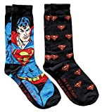 DC Comics Superman Soaring Pattern Men's Crew Socks 2 Pair Pack Shoe Size 6-12