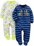 Simple Joys by Carter's Baby Boys' 2-Pack Cotton Footed Sleep and Play, Little Brother/Dino, 0-3 Months