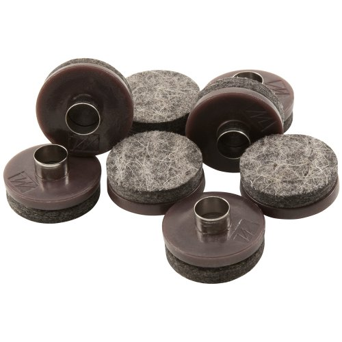"""Nail-on, Heavy Duty Felt Pads for Wood Furniture and Hard Surfaces Value Pack (20 piece) - Walnut Brown, Round 1"""" in & 1.5"""" in"""
