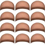 eBoot 12 Pack Nylon Wig Caps for Women and Men (Light Brown)
