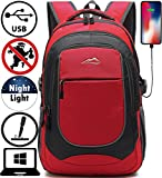 Backpack for School College Student Sturdy Bookbag Travel Business with USB Charging Port Laptop Compartment Chest Straps Anti Theft Night Light Reflective (Red)
