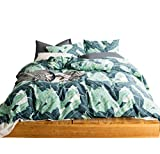 SUSYBAO 3 Pieces Duvet Cover Set 100% Natural Cotton Queen Size Green Tropical Botanical Print Bedding Set with Zipper Ties 1 Duvet Cover 2 Pillowcases Hotel Quality Soft Comfortable Easy Care Durable