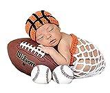 Lppgrace Newborn Baby Boy Basketball Photography Props Crochet Orange Hat+White Basket Costume Outfits