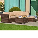 SUNCROWN Outdoor Furniture Sectional Sofa (4-Piece Set) All-Weather Brown Checkered Wicker w/Washable Seat Cushions & Glass Coffee Table | Patio, Backyard, Pool | Waterproof Cover & Clips