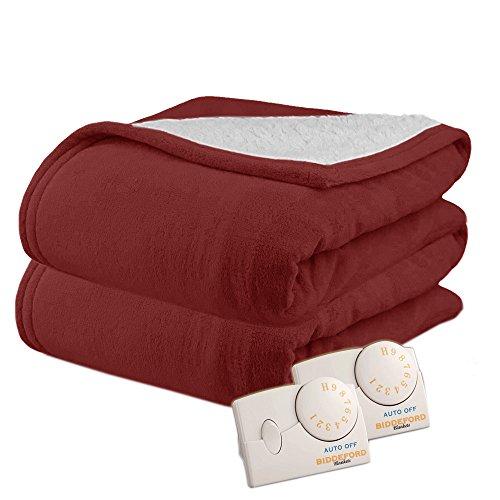 Biddeford 2064-9032138-302 MicroPlush Sherpa Electric Heated Blanket King Claret