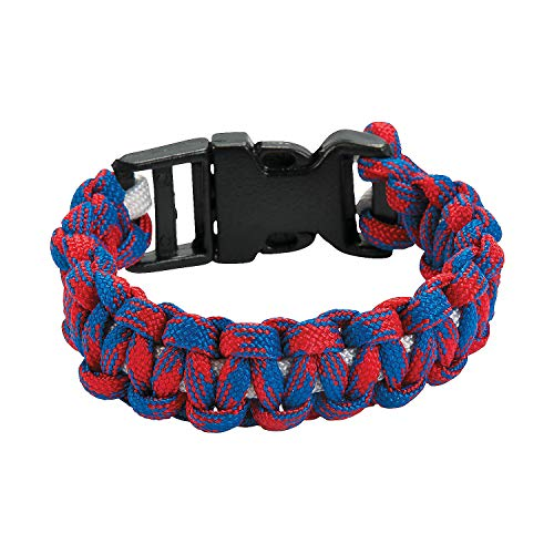 Fun Express - R/w/b Paracord Bracelet ck for Fourth of July - Craft Kits - Kids Jewelry Craft Kits - Kids Bracelet - Fourth of July - 12 Pieces