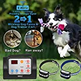 WIEZ Dog Fence Wireless & Training Collar Outdoor 2-in-1, Electric Wireless Fence for Dogs w/Remote, Adjustable Range Control, Waterproof Reflective Stripe Collar, Harmless for All Dogs- 2 Collars