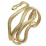 RechicGu Gold Chic Egypt Cleopatra Swirl Snake Arm Cuff Armlet Armband Open Bangle Bracelet