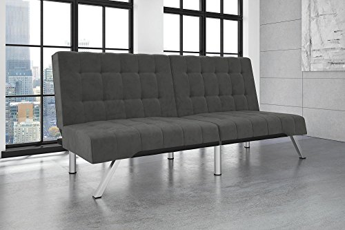 Fantastic Dhp Emily Futon Couch Bed Modern Sofa Design Includes Sturdy Chrome Legs And Rich Velvet Upholstery Grey Dustin A Purtan Inzonedesignstudio Interior Chair Design Inzonedesignstudiocom