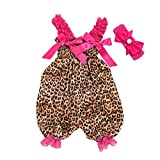 LNGRY Baby Outfits,Toddler Infant Kid Girls Fashion Leopard Print Strap Lace Romper Playsuit+Headband Set (6-12 Months, Multicolor)