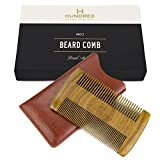 Dual Action Beard Comb & Protective Sleeve - Perfect for Balms and Oils - Sandalwood Scent,...