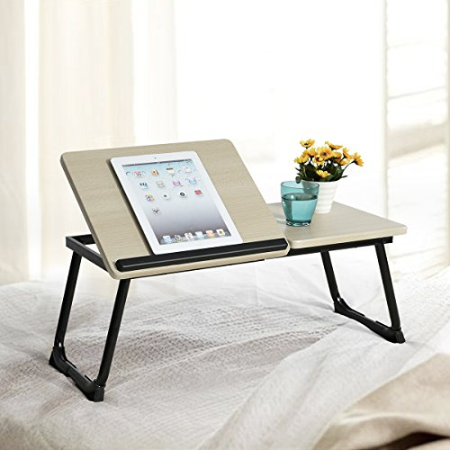 iPad compatible Beech / Black Laptop Notebook iPad Desk Stand Foldable Large Size Portable Adjustable Tilting Home and Office Lap Desk Bed Tray