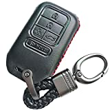 Black Leather Cover Key Fob Case Protector Jacket Remote Holder For 2015 2016 2017 2018 2019 Honda Accord Civic CR-V CRV Pilot EX EX-L Touring Premium