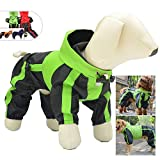 Lovelonglong Dog Hooded Raincoat, Small Dog Rain Jacket Poncho Waterproof Clothes with Hood Breathable 4 Feet Four Legs Rain Coats for Small Dogs Green XL
