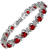 RIZILIA Round Simulated Red Ruby and White Cubic Zirconia 18K White Gold Plated Tennis Bracelet, 7'