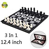 Magnetic Chess Set for Kids and Adults, Joneytech 12.4 inch Travel Portable Folding Chess Sets Game Board with 3 in 1 Chess Checkers and Backgammon Best Gifts for Children