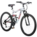 24' Mongoose Ledge 2.1 Boys' Mountain Bike, Silver/Red