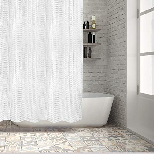 Hermosa Collection Luxury Hotel 100% Pure Thick Heavy Cotton Waffle Shower Curtain - 72 x 72 in