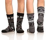 DoSmart Men's Winter Thermal Fleece Lining Knit Slipper Socks Skid Fuzzy Warm Indoor Home Socks 2 Pairs (Black&Drak Grey)