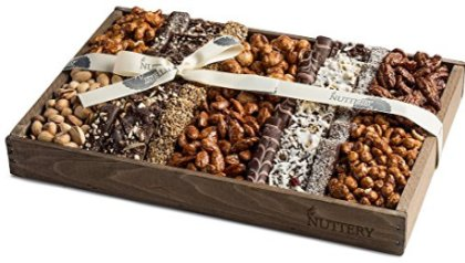 2c953fe833 The Nuttery Fresh Chocolate and Roasted Nuts Gift Tray-Reusable Medium  Wooden Box-Kosher