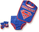 DC Comics Baby Boys' Bib Bootie Set and Diaper Cover, Blue/Red, Infant