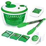 Iseason Salad Spinner, Large Vegetable Washer Dryer with Bowl, Lettuce Washer with Vegetable Chopper, Onion Slicer Food Dicer,5L large Capacity (with Food Clip)