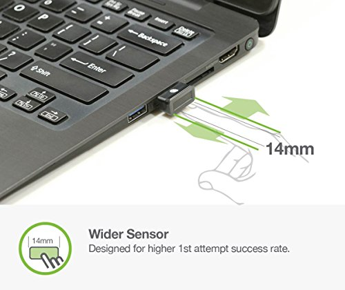 Idem FCC BioScan Compact USB Fingerprint Scanner for Fast Win10 Sign-in w/Wide Sensor for Superb 1st Attempt Recognition, Anti-spoofing Protection, 360°Finger Readability, Multi Fingerprints Support