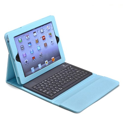 Aduro LIQUA-SHIELD Folio Case with Bluetooth Keyboard for Apple iPad 2, iPad 3 & iPad 4 Generation (Retail Packaging) (Turquoise)