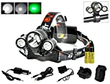 Boruit Hunnting Headlight with Green light 3T6 LED Night Flashlight Cycling Headlamp for Caming Fishing Running