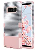 ULAK Note 8 Case for Girls,Galaxy Note 8 Case, Anti Slip Note 8 Case Dust Scratch Shock Resistance Protective Cover for Samsung Galaxy Note 8 2017 with Soft Silicone+ Hard PC Case(Rose Gold Stripes)