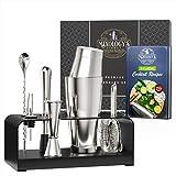 Mixology Bartender Kit with Free Recipe Book - Bar Set Includes Boston Shaker, Jigger, Hawthorne Strainer - Sleek, Stylish Cocktail Shaker Set Makes Perfect Housewarming Gift