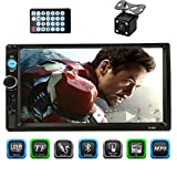 CACA Double Din Car Stereo Receiver 7 Inch Touchscreen in Dash Audio Video Player Bluetooth FM Radio MP3/4/5 TF/USB/AUX,Remote Control,Backup Camera