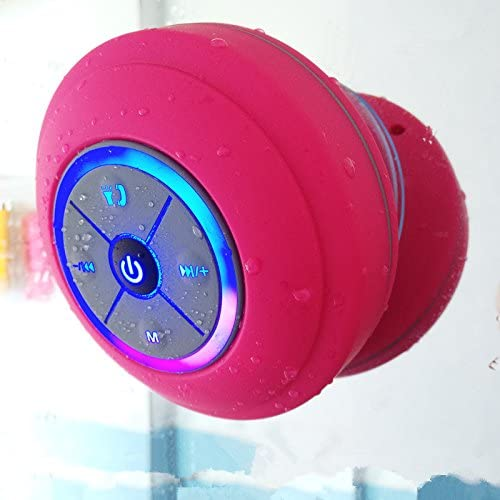 Bluetooth Waterproof Wireless Speaker with Color Changing LED Lights. IPX4 Waterproof Rating with Removable Suction Cup, Handsfree Speakerphone, MicroSD Slot for Local Playback & FM Radio!