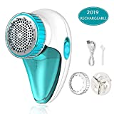 Aerb Fabric Shaver Rechargeable, Lint Remover Electric Fabric Defuzzer with 2-Speeds, Removable Bin & Replaceable Stainless Steel Blade, Dual Protection - Tale White
