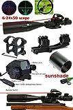 Ledsniper3-in-1 Combo 6-24x50 Eg Optical Rifle Scope Mil-dot Dual Illuminated w/ Side Rails & Mount