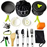 Gold Armour 17 Pieces Camping Cookware Mess Kit Backpacking Gear and Hiking Outdoors Bug Out Bag Cooking Equipment Cookset   Lightweight, Compact, Durable Pot Pan Bowls (Green)
