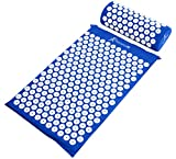 ProSource Acupressure Mat and Pillow Set for Back/Neck Pain Relief and Muscle Relaxation, Blue
