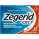 Zegerid OTC Heartburn Relief, 24 Hour Stomach Acid Reducer Proton Pump Inhibitor With Omeprazole and Sodium Bicarbonate, Capsules, 42 Count