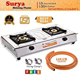 Surya Shining Flame Stainless Steel Cooktop Gas Stove with 1.5 M Suraksha LPG Rubber Hose Pipe (Steel Wire Reinforced) ISI Marked
