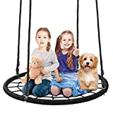 SUPER DEAL 40'' Spider Web Tree Swing Net Swing Platform Rope Swing 71