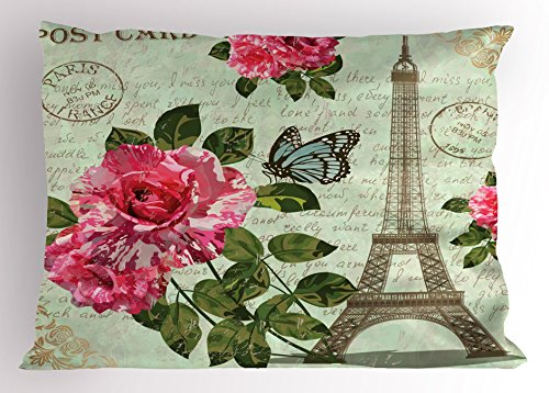 Ambesonne Paris Pillow Sham, Shabby Chic Romantic Roses Flowers Leaves with Eiffel Tower and Abstract Lettering, Decorative Standard King Size Printed Pillowcase, 36 X 20 Inches, Multicolor