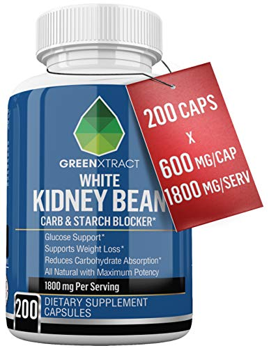Carb Blocker - 1800 MG - 200 Caps X 600 MG of 100% Pure White Kidney Bean Extract - All Natural Weight Loss Support for Men and Women